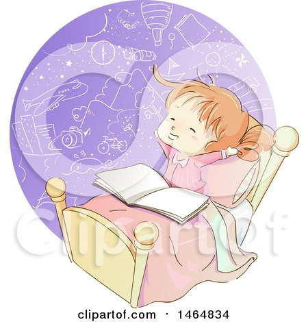 Clipart of a Sketched Red Haired White Girl Reading a Book and Imagining in Bed - Royalty Free Vector Illustration by BNP Design Studio