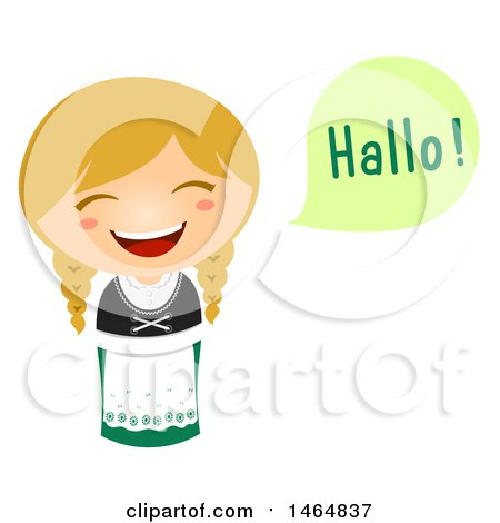 Clipart of a Girl in a Traditional Outfit, Saying Hi in German - Royalty Free Vector Illustration by BNP Design Studio