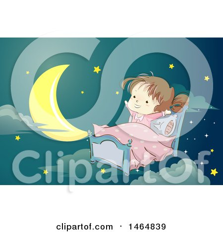 Clipart of a Sketched Brunette White Girl Stretching in Bed Against a Night Sky - Royalty Free Vector Illustration by BNP Design Studio