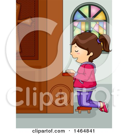 Clipart of a Brunette White Girl Kneeling and Praying at a Church Confession Box - Royalty Free Vector Illustration by BNP Design Studio