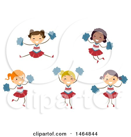 Clipart of a Group of Cheerleader Girls - Royalty Free Vector Illustration by BNP Design Studio