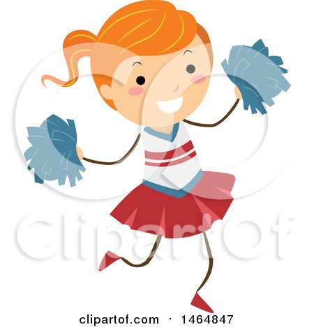Clipart of a Happy Energetic Cheerleader Girl - Royalty Free Vector Illustration by BNP Design Studio