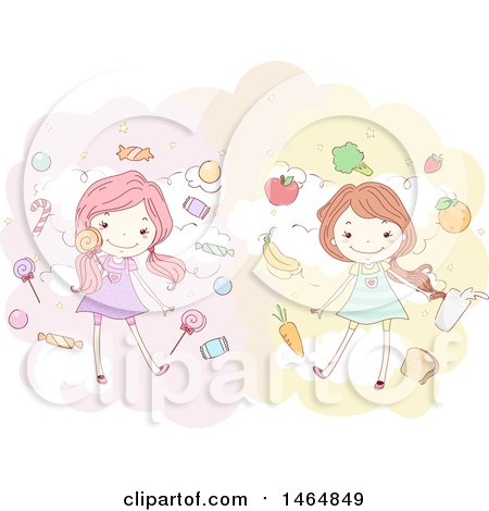 Clipart of a Stick Girls with Candy and Healthy Foods - Royalty Free Vector Illustration by BNP Design Studio