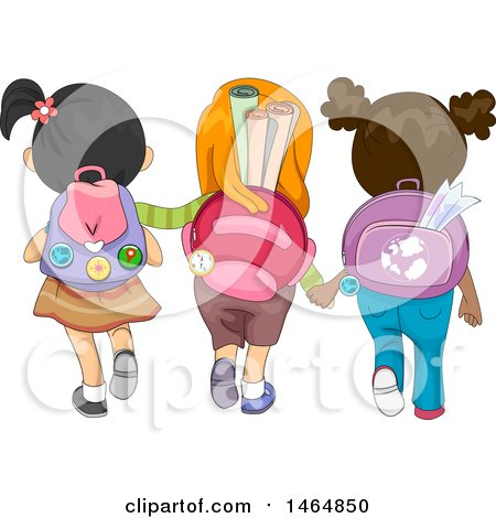 Clipart of a Rear View of a Group of Girls Wearing Backpacks - Royalty Free Vector Illustration by BNP Design Studio