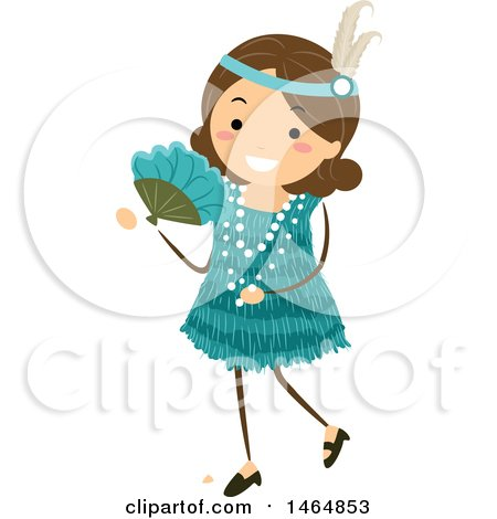 Clipart of a Flapper Girl in a Teal Dress - Royalty Free Vector Illustration by BNP Design Studio