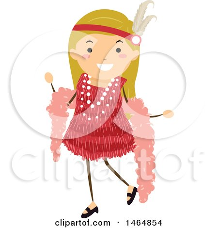 Clipart of a Flapper Girl in a Red Dress - Royalty Free Vector Illustration by BNP Design Studio
