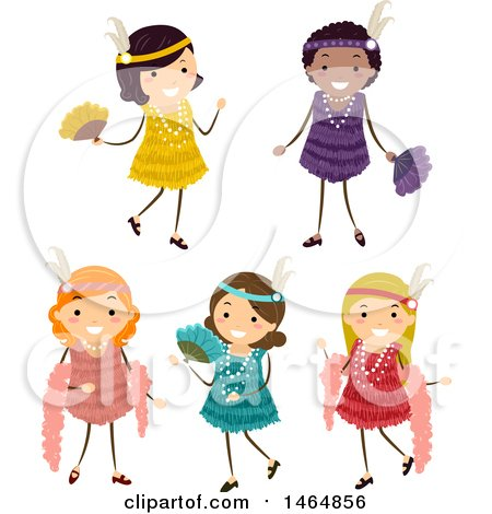 Clipart of a Group of Girls in Flapper Dresses - Royalty Free Vector Illustration by BNP Design Studio