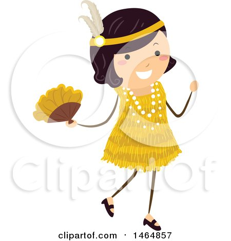 Clipart of a Flapper Girl in a Yellow Dress - Royalty Free Vector Illustration by BNP Design Studio