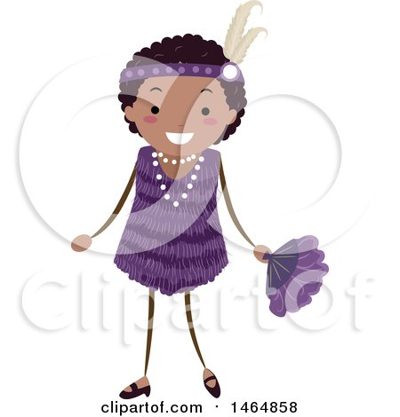 Clipart of a Flapper Girl in a Purple Dress - Royalty Free Vector Illustration by BNP Design Studio