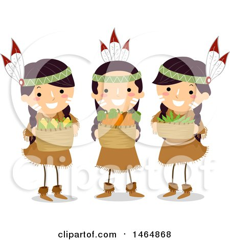 Clipart of a Group of Native American Girls Holding Harvested 3 Sister Crops - Royalty Free Vector Illustration by BNP Design Studio