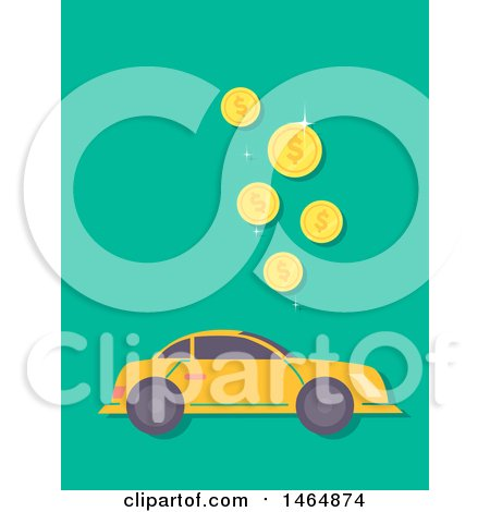 Clipart of a Car and Falling Coins - Royalty Free Vector Illustration by BNP Design Studio