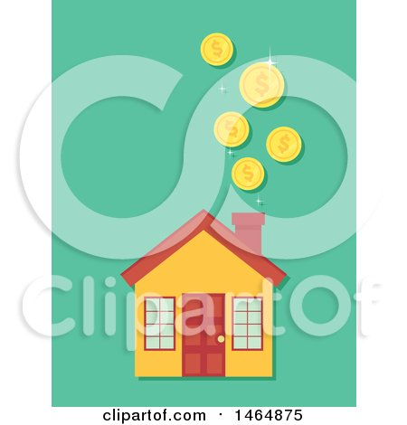 Clipart of a Home and Falling Coins - Royalty Free Vector Illustration by BNP Design Studio