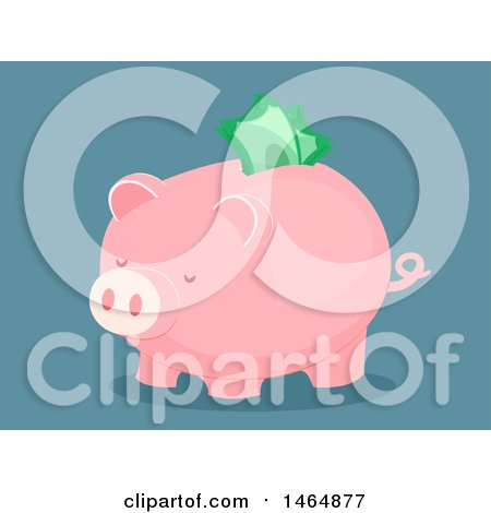 Clipart of a Piggy Bank with Cash Sticking out of the Slot - Royalty Free Vector Illustration by BNP Design Studio