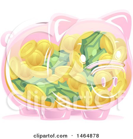 Clipart of a Transparent Piggy Bank Full of Coins and Cash Money - Royalty Free Vector Illustration by BNP Design Studio
