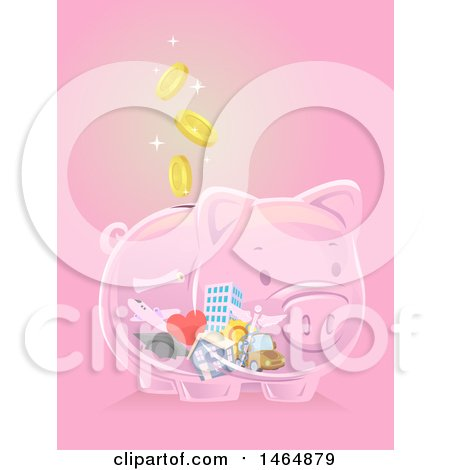 Clipart of a Transparent Piggy Bank with Falling Coins and a House, Car, Medical Caduceus, Travel, Graduation and Building Icons Inside - Royalty Free Vector Illustration by BNP Design Studio