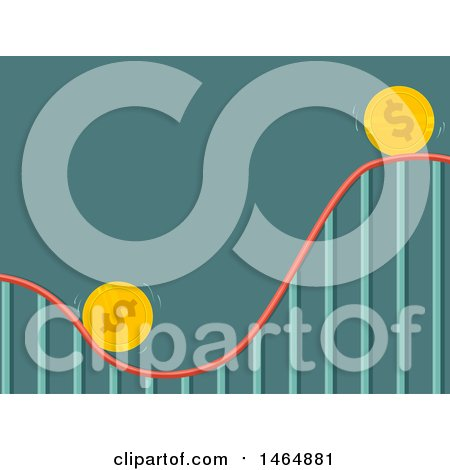 Clipart of a Roller Coaster Ride with Coins Going up and down - Royalty Free Vector Illustration by BNP Design Studio