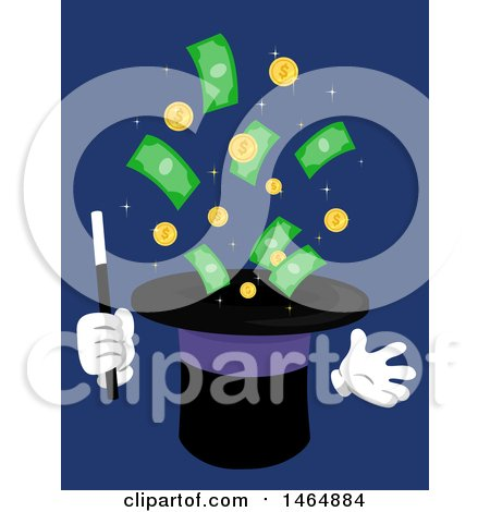 Clipart of a Magic Hat Character with Coins and Cash Money - Royalty Free Vector Illustration by BNP Design Studio
