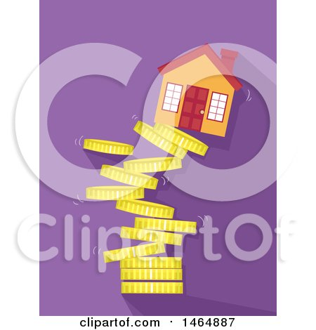 Clipart of a House on Top of a Collapsing Tower of Coins - Royalty Free Vector Illustration by BNP Design Studio