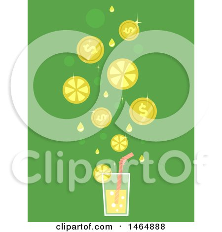 Clipart of a Glass of Lemonade with Falling Slices and Coins - Royalty Free Vector Illustration by BNP Design Studio