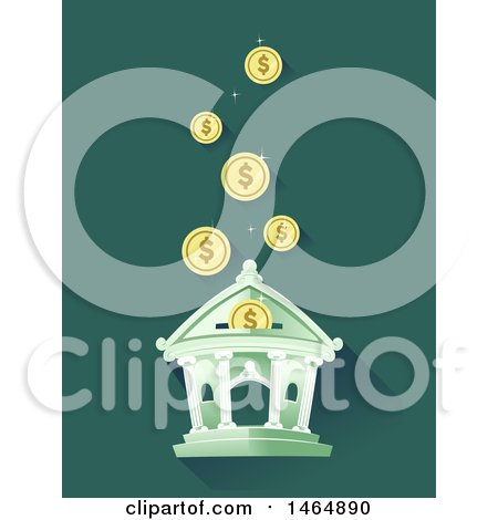 Clipart of a Bank with Coins Falling into a Deposit Slot - Royalty Free Vector Illustration by BNP Design Studio