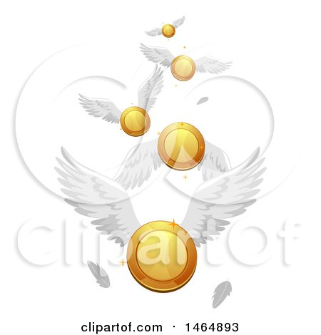 Clipart of a Flock of Flying Coins - Royalty Free Vector Illustration by BNP Design Studio