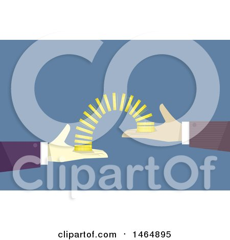 Clipart of Hands Transfering Coins Fron One to the Other - Royalty Free Vector Illustration by BNP Design Studio