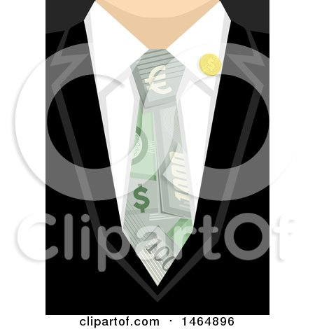 Clipart of a Closeup of a Business Man Wearing a Money Tie - Royalty Free Vector Illustration by BNP Design Studio