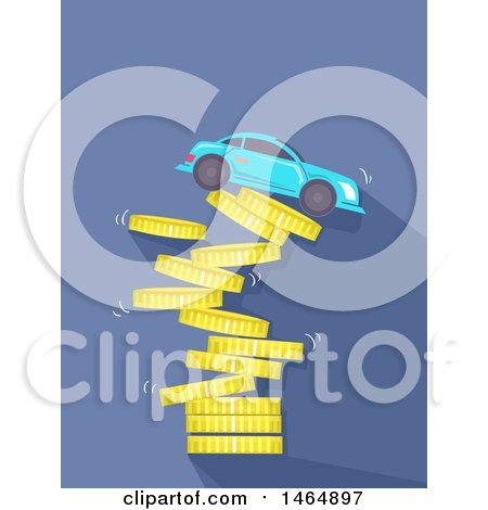 Clipart of a Car on Top of a Collapsing Coin Tower - Royalty Free Vector Illustration by BNP Design Studio