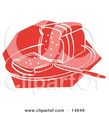 Knife Resting On A Cutting Board Near Sliced Bread Clipart Illustration by Andy Nortnik