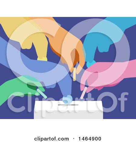 Clipart of Colorful Hands Inserting Coins in a Donation Box - Royalty Free Vector Illustration by BNP Design Studio
