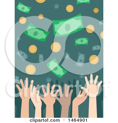 Clipart of Hands Trying to Catch Falling Money - Royalty Free Vector Illustration by BNP Design Studio