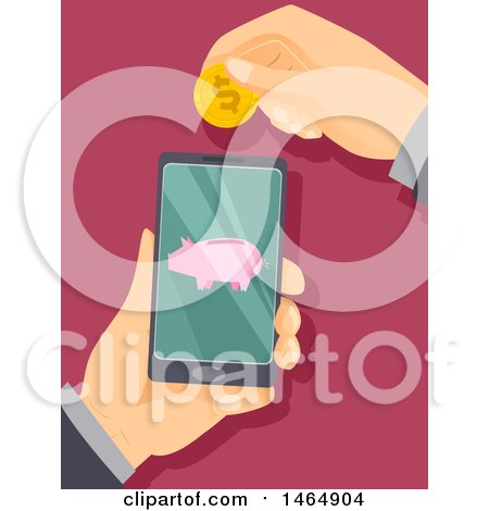 Clipart of Hands Holding a Smart Phone and One Depositing a Coin Through Online Banking - Royalty Free Vector Illustration by BNP Design Studio