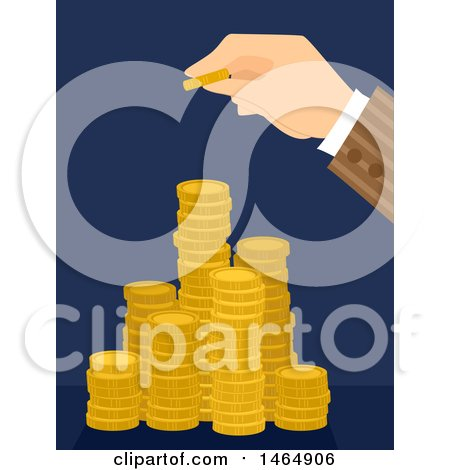Clipart of a Hand Stacking a Gold Coin on Top of Towers - Royalty Free Vector Illustration by BNP Design Studio