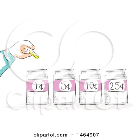 Clipart of a Sketched Hand Putting a Coin in Marked Jars - Royalty Free Vector Illustration by BNP Design Studio