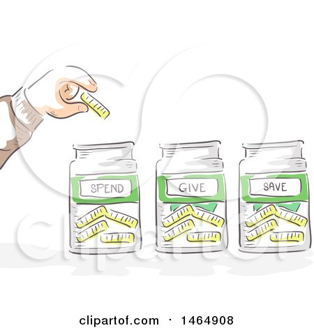 Clipart of a Sketched Hand Putting a Coin in Spend, Give and Jars - Royalty Free Vector Illustration by BNP Design Studio