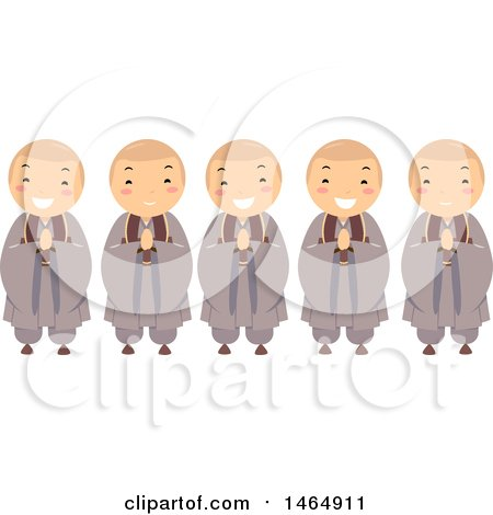 Clipart of a Group of Buddhist Monk Boys - Royalty Free Vector Illustration by BNP Design Studio