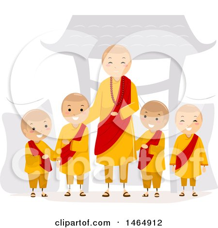 Clipart of a Group of Monk Boys and a Man - Royalty Free Vector Illustration by BNP Design Studio