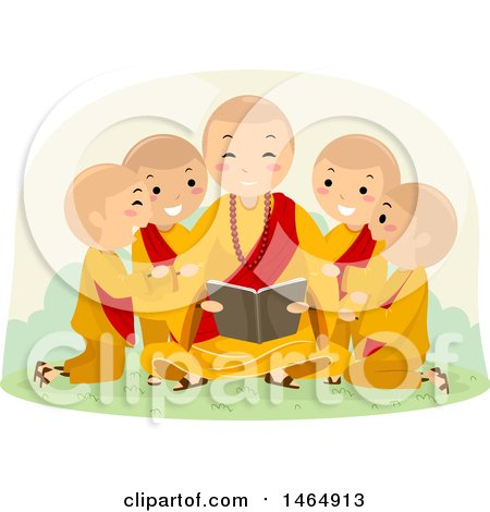 Clipart of a Group of Boys Huddled Around a Reading Monk - Royalty Free Vector Illustration by BNP Design Studio