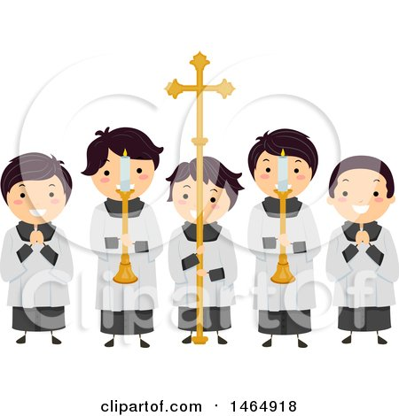 Clipart of a Group of Altar Boys Holding Candles and a Cross - Royalty Free Vector Illustration by BNP Design Studio