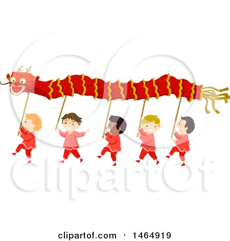 Clipart of a Group of Boys Performing a Dragon Dance - Royalty Free Vector Illustration by BNP Design Studio