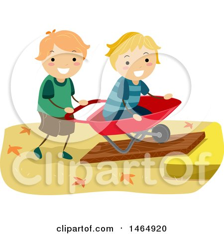 Clipart of a Boy Pushing His Friend or Brother in a Wheelbarrow on an Inclined Plane - Royalty Free Vector Illustration by BNP Design Studio