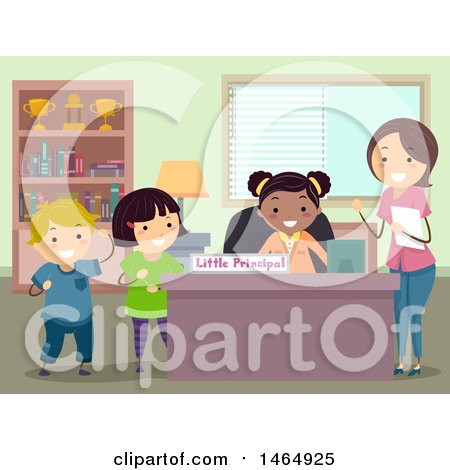 Clipart of a Group of School Children and Teacher at a Little Principal Desk - Royalty Free Vector Illustration by BNP Design Studio