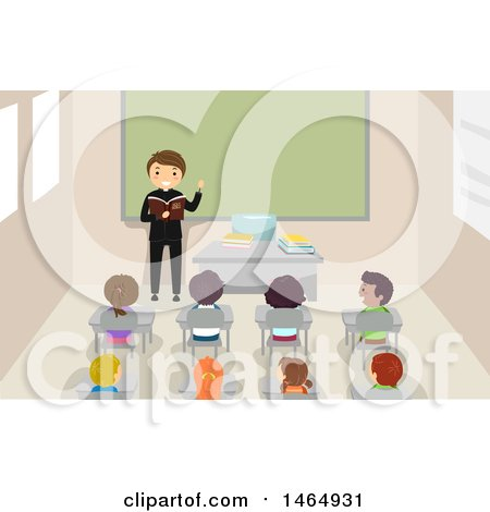 Clipart of a Group of School Children Listening to a Priest - Royalty Free Vector Illustration by BNP Design Studio