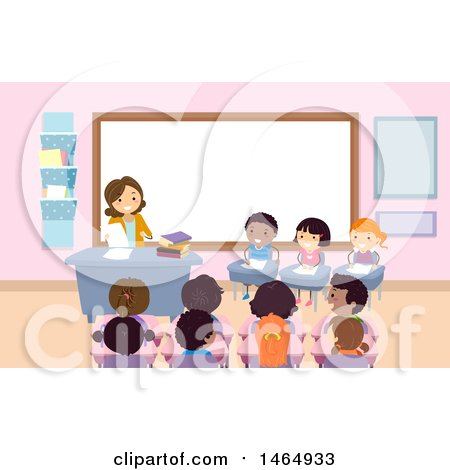 Clipart of a Group of School Children in a Spelling Bee - Royalty Free Vector Illustration by BNP Design Studio