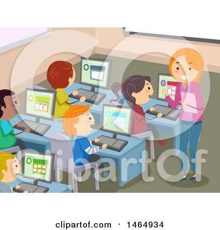 Clipart Of A Group School Children And Teacher In Computer Lab