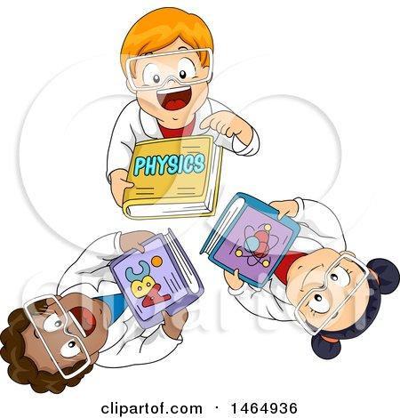 Clipart of a Group of School Children Looking up and Holding Physics Books - Royalty Free Vector Illustration by BNP Design Studio