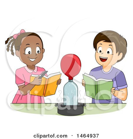 Clipart of a School Boy and Girl Watching a Balloon Inflate During a Chemistry Experiment - Royalty Free Vector Illustration by BNP Design Studio