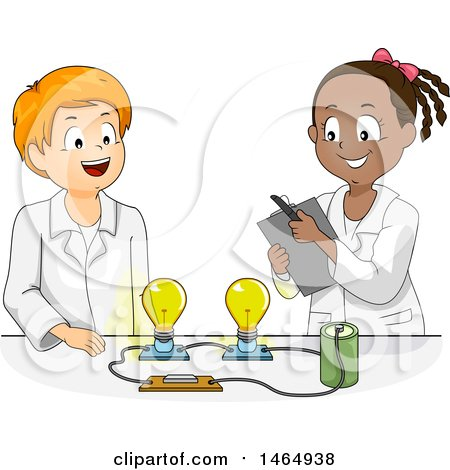 Clipart of a School Boy and Girl Conducting a Light Bulb and Battery Science Experiment - Royalty Free Vector Illustration by BNP Design Studio