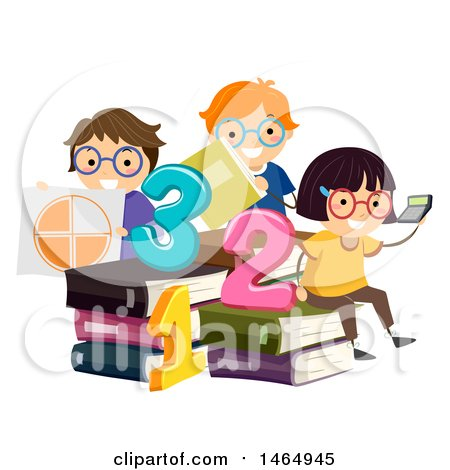 Clipart of a Group of School Children Studying Math Around Giant Books - Royalty Free Vector Illustration by BNP Design Studio