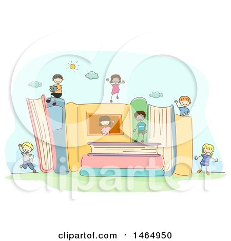 Clipart of a Sketched Group of School Children Playing on Giant Books - Royalty Free Vector Illustration by BNP Design Studio